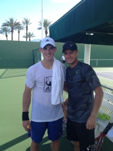 Practicing with Hewitt in Indian Wells