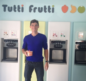 Enjoying my Tutti Frutti Fro-Yo in Barcelona! :)